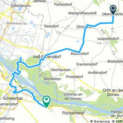 Lange Ausfahrt von Gemeinde Obersiebenbrunn nach Gemeinde Schwechat