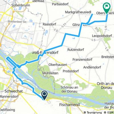 Lange Ausfahrt von Gemeinde Schwechat nach Gemeinde Obersiebenbrunn
