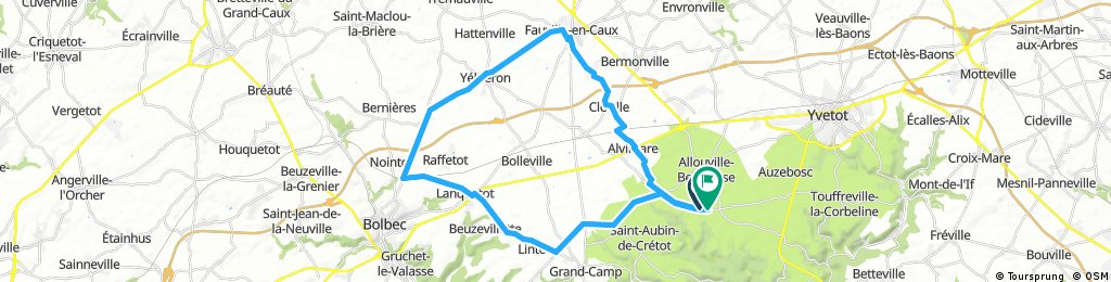 Long bike 40km tour through Allouville-Bellefosse