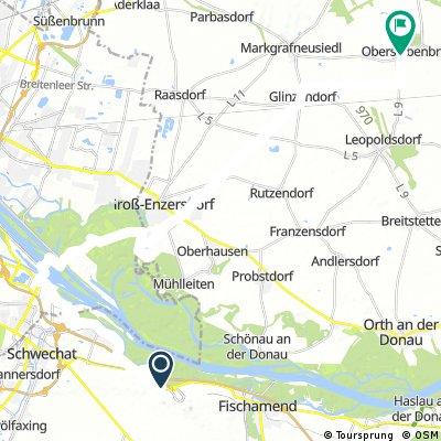 Ausfahrt von Gemeinde Schwechat nach Gemeinde Obersiebenbrunn
