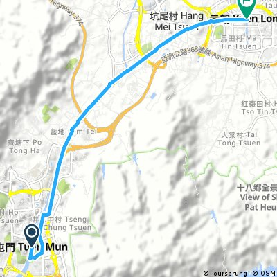 Easiest Route from Tuen Mun to Yuen Long