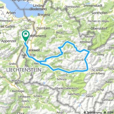 Oberriet-Feldkirch-Faschina.-Hochtannbergpass-Flexenpass-Feldkirch-Oberriet