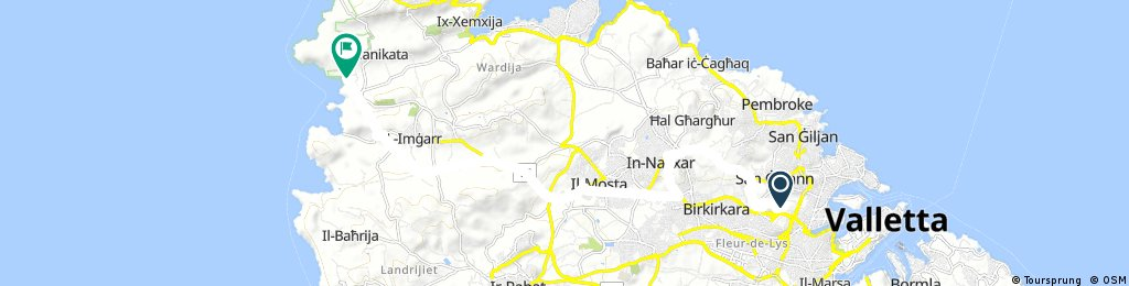 ride from Msida to Ghajn Tuffieha
