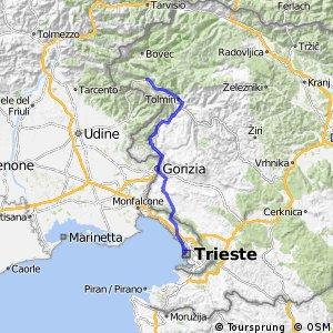 Navigate Km Long Cycling Route In Friuli Venezia Giulia - Udine map