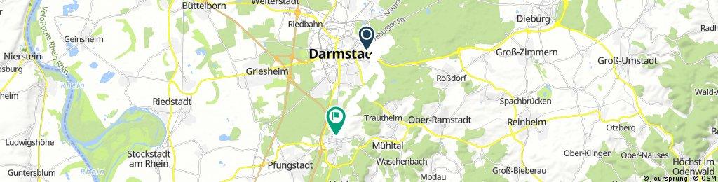 7 Hügel Steig in Darmstadt: Ostbahnhof - Eberstadt Wartehalle