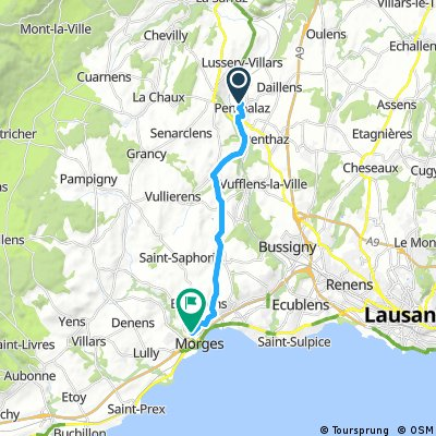 bike tour from Penthalaz to Morges