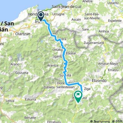Lengthy bike tour from Irun to Baztan