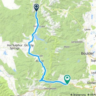 2016.08.24. Timber Creek Camping – Grand Lake – Granby – Tabernas – Winter Park – Berthoud pass (3446 m) – Idaho Springs = 136,1 km + 1323 m szint