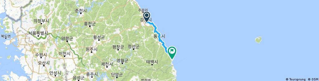 Long ride from Gangneungsi to Samcheoksi