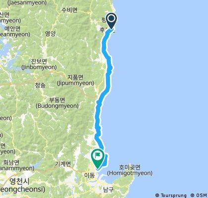 Long ride from Uljin-gun to Pohangsi