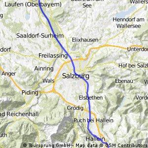 Vigaun - Oberndorf am Salzachradweg entlang