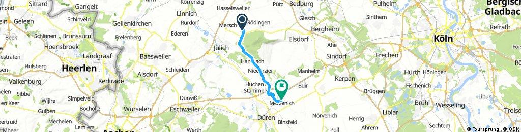 Ausfahrt von Jülich nach Merzenich