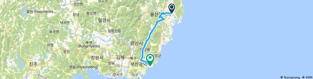Long bike tour from Bukgu to Hae-undaegu