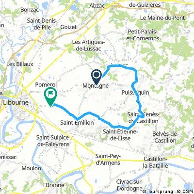 ride from Montagne to Saint-Émilion