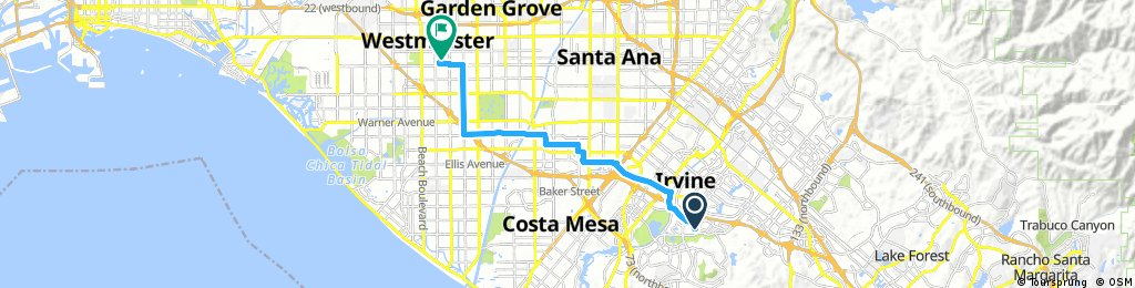 ride from Irvine to Midway City