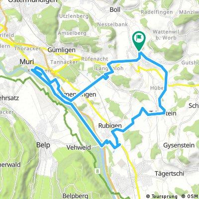 Worb - Aare via Muri - Hunziken - Trimstein - Worb
