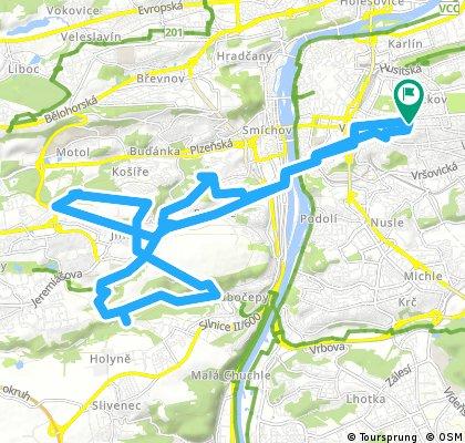 Lengthy bike tour through Prague