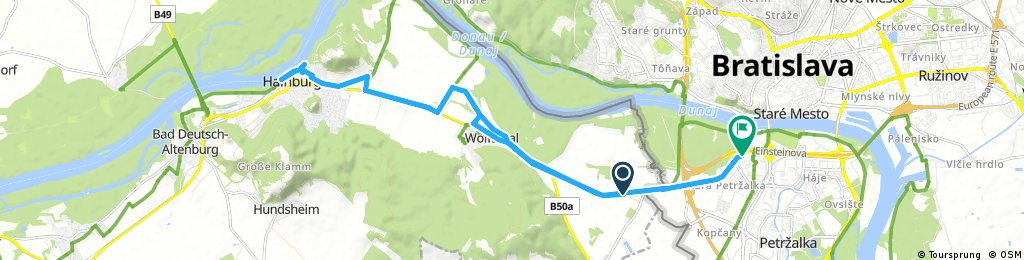 ride from Wolfsthal to Petržalka