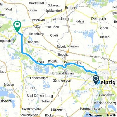 Lange Ausfahrt von Leipzig nach Halle (Saale)