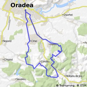 Km Hilly Cycling Tour With Hm Altitude Difference In Bihor - Oradea map