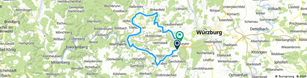 Lange Ausfahrt von Würzburg, gemeindefreies Gebiet nach Waldbrunn