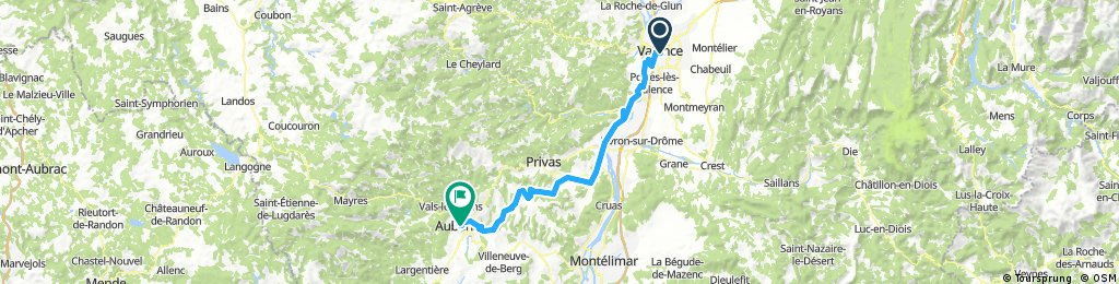 Long bike tour from valence through Aubenas