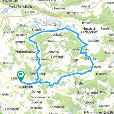 Rennrad zur Weser über Aerzen, Möllenbeck und Langenholzhausen