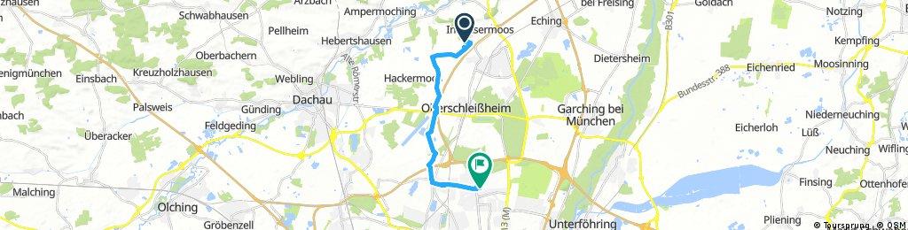 Ausfahrt von Unterschleißheim nach München
