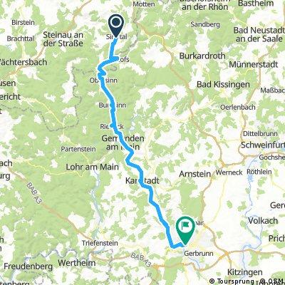 Lengthy bike tour from Sinntal to Würzburg