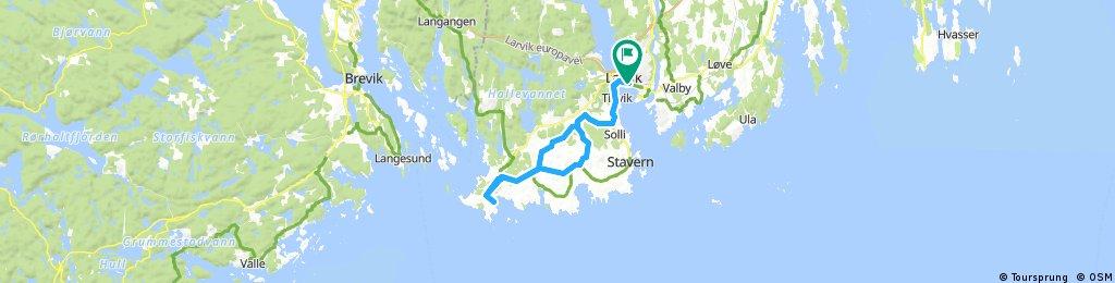 Larvik - Nevlunghavn t/r flott tur for Jr på landeveissykkel