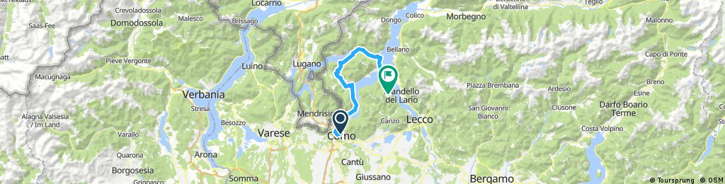 Day 4 Drive to Como then Lake Lugano Loop to Bellagio, with optional 8km Madonna Ghisallo climb and descent