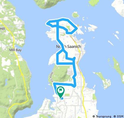 Long bike tour through Brentwood Bay