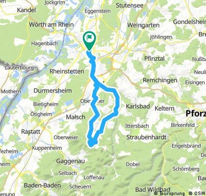 Karlsruhe - Ettlingen - Freiolsheim - Mahlberg - Moosalbtal - Karlsruhe
