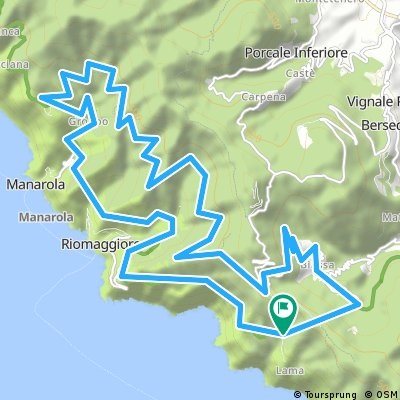 Cinque Terre loop from tunnerl incl. offroad