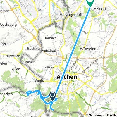Ausfahrt von Aachen nach Alsdorf