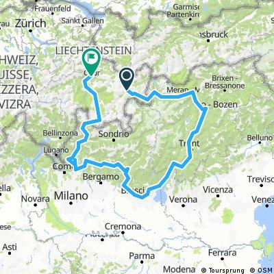 Sommertour 2017: Zernez-Bolzano-Trento-Riva d. G.-Brescia-Lecco-Nesso-Chiavenna-Casaccia-Bivio-Chur