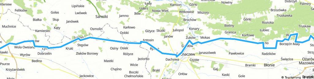 Kutno-Wawa przez Oporów, Kiernozię, Rybno, Sochaczew, Leszno, Zaborów 140km