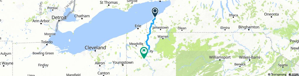 Lake Erie State Park to Kennerdell