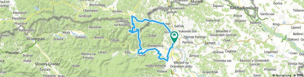 Kosaki - Jurij - Schlossberg - Grosswalz - Sveti duh na Ostrem vrhu - Selnica - Ruse - Radvanje - Trikotna jasa - Razvanje - Kosaski dol
