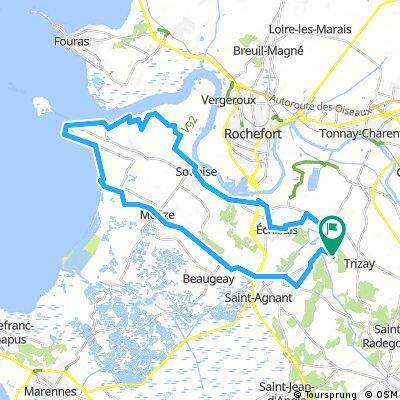 Route A Estuarium vann de Charente en Il Madame 45km
