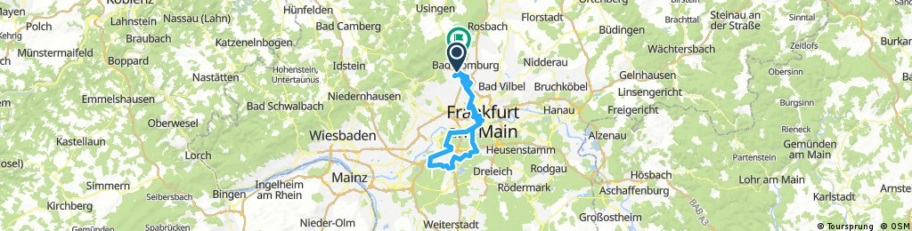 Radrunde von Bad Homburg um den Flughafen Frankfurt