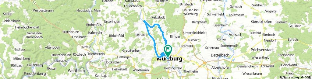 Würzburg Ausflug Hotel-Biergarten 2h über Hinterland
