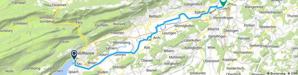Lange Ausfahrt von Biel/Bienne nach Luterbach
