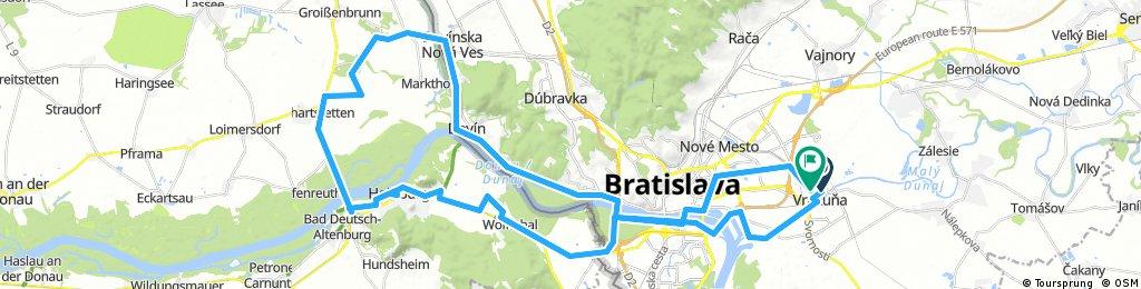 Lengthy bike tour through Bratislava