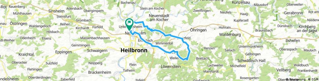 Neckarsulm-Dahenfeld-Brettach-Scheppach-Obersulm-Erlenbach-Neckarsulm
