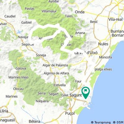 ROAD Puerto-Marianet-Eslida-Ain-Nevera-Almedijar-Eslida-Marianet-Puerto 151km.