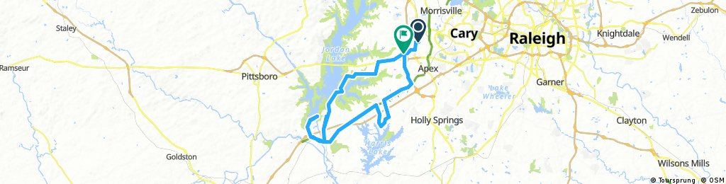 45-mile route from Western Cary through Jordan Lake dam