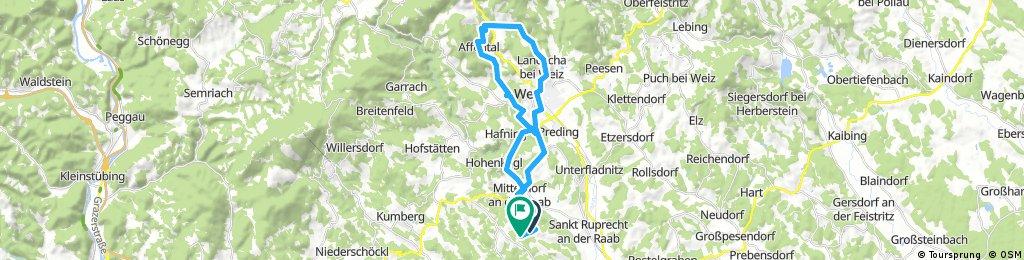 Lange Radrunde durch Mitterdorf an der Raab