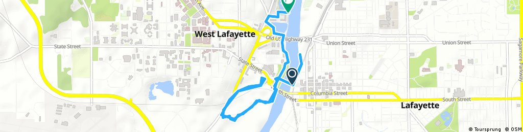 Brief bike tour from Lafayette to West Lafayette