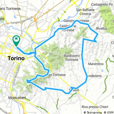 Salita Pino Vecchio - Maddalena - Pecetto - Chieri - Sciolze - Gassino e ritorno